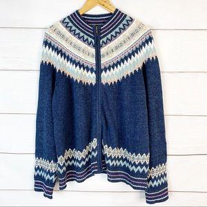 VTG Fair Isle Zip up Sweater Size XL